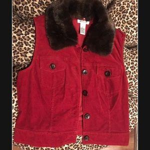 Harold's red corduroy vest detachable fur collar M